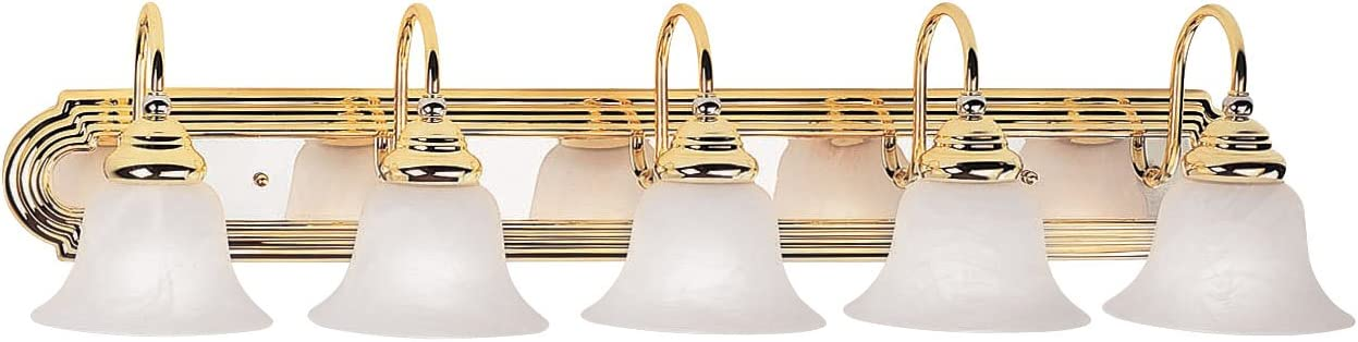 Livex Lighting 1005-25 Belmont 5-Light Bath Light, Polished Brass and Chrome
