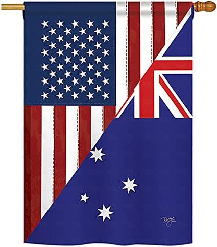 Breeze Decor Us Australia Friendship Flags Of The World Everyday Impressions Decorative Vertical House Flag 28 X 40 Printed In Usa Garden Outdoor