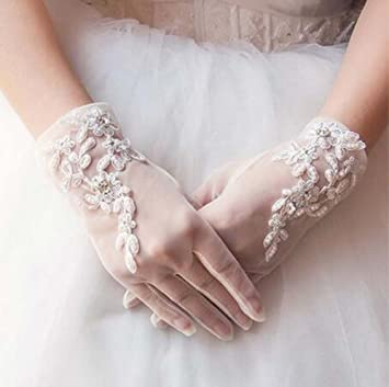 Hot 1Pair Ivory Lace Wedding Gloves Women/'s Wedding Bridal Party Gloves JT