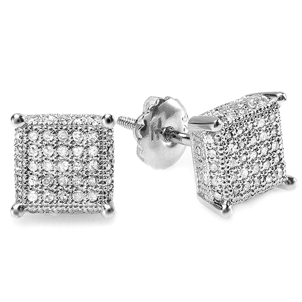 0.55 Carat (ctw) Sterling Silver Round Diamond Dice Shape Mens Iced Stud Earrings 1/2 CT
