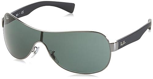 Ray-Ban Wrap gafas de sol Visor en Gunmetal verde RB3471 004/71 32