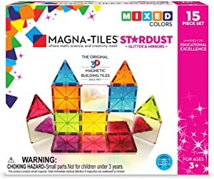 Magna Tiles Stardust Set, The Original, Award-Winning Magnetic Building Tiles, Creativity & Educational, Stem Approved, Glitter & Mirrors