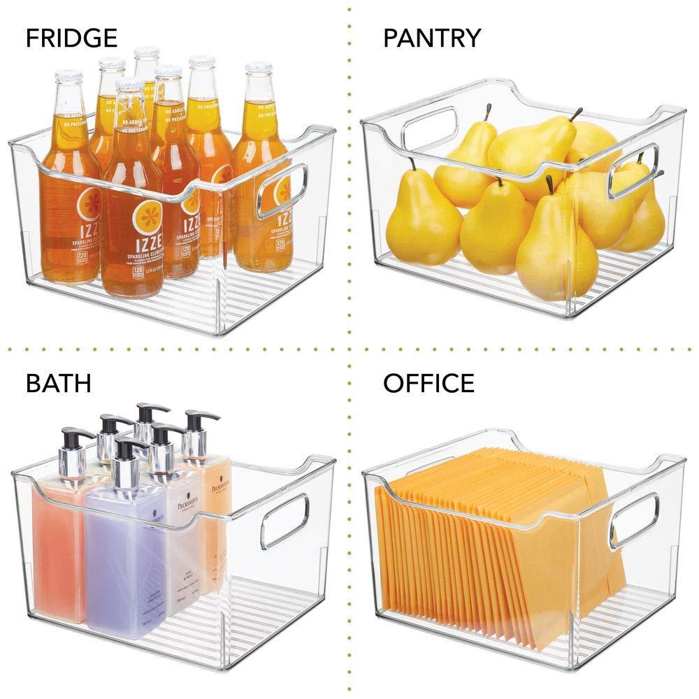 Pratico Cesto per Il Bagno con Manici mDesign Contenitore per Il Bagno Trasparente Organizer per Il Bagno di plastica per Asciugamani Prodotti Bagno e Molto Altro