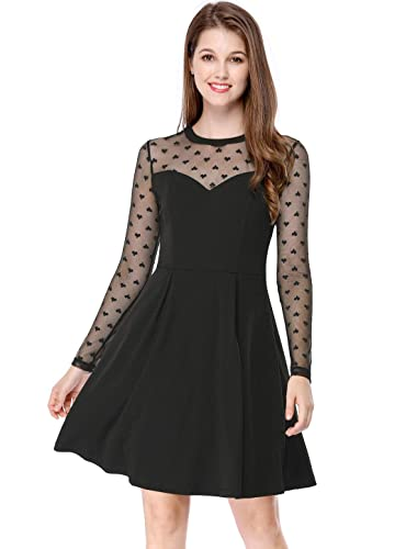 2c87705597c91 Allegra K Women s Mesh See Through Heart Polka Dots Sheer Skater Party Dress  at Amazon Women s Clothing store