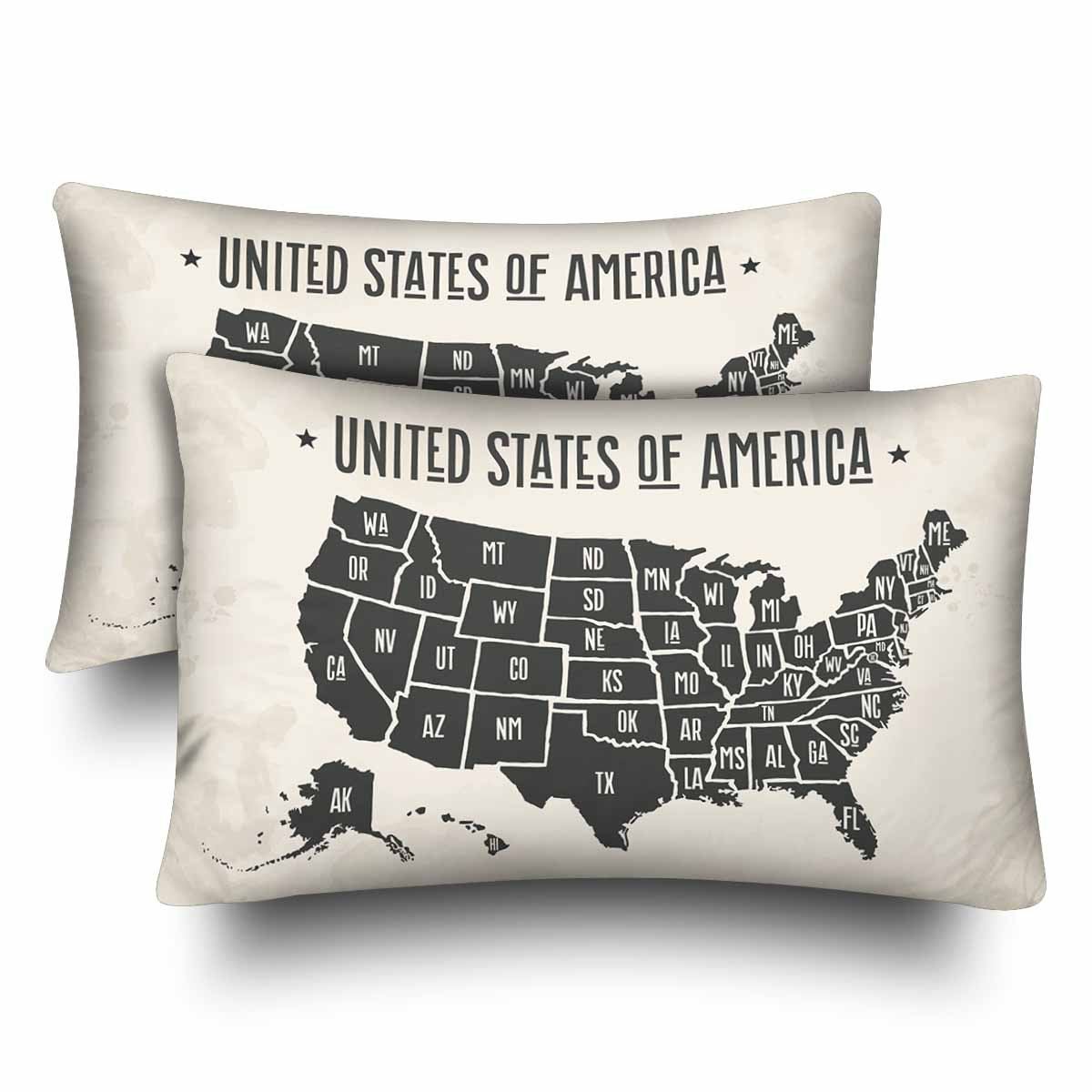 InterestPrint Map of United States of America with State Names Pillow Cases Pillowcase Standard Size 20x30 Set of 2, Black And White Map of USA Rectangle Pillow Covers for Home Bedding Decorative