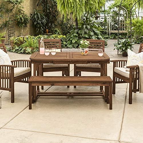 Walker Edison Maui Modern 6 Piece Solid Acacia Wood Slatted Outdoor Dining Set