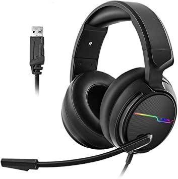 Headband Earphone for Computer PC Gamer Stereo Music Headphone-White Noise Cancelling Volume Control Game Headphone Stereo Over-Ear Gaming Headset MYLJX Gaming Headset for Pc