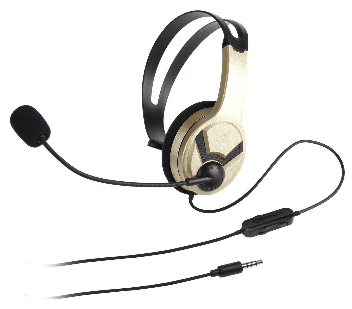 AmazonBasics Gaming Chat Headset for PlayStation 4 with Microphone - 4 Foot Cable, Gold
