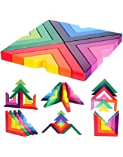 M-Aimee Wooden Rainbow Stacking Game Stacker Geometry Building Blocks Creative Nesting Educational Toys Kids Toddlers (Rainbow Stacking Game)