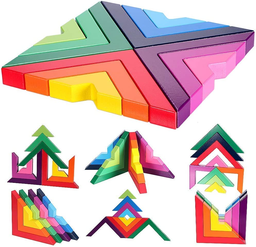 Agirlgle Wood Building Blocks Rainbow Stacking Game for Kids Children Preschool Learning Educational Toys Shape Color Sorter Recognition Geometric Board Block Wooden 3D Puzzles Toys