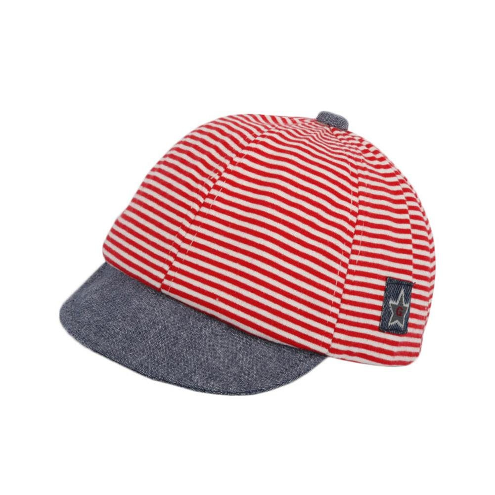 ZHUOTOP Newborn Summer Casual Striped Soft Hats Red