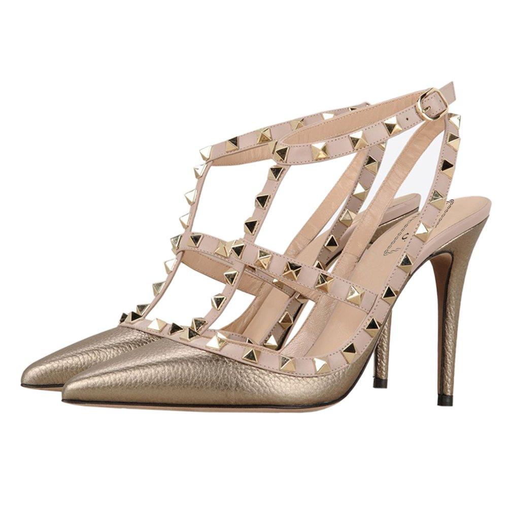 EKS Kleid-Partei Damen High Heels Sandalen Nieten Rivets Kleid-Partei EKS Pumps Gold mit Muster 7463b3