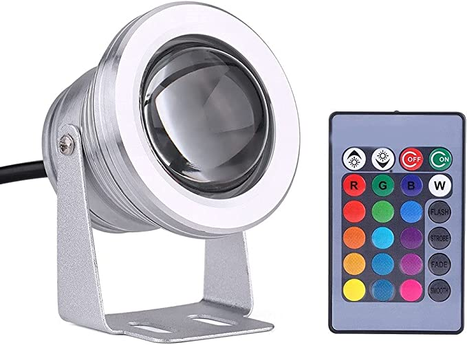 10W 12V RGB LED Silvery White Colorful Waterproof Outdoor Underwater Light Lamp For Pond Garden Marine Boat Silvery White LED Spotlight
