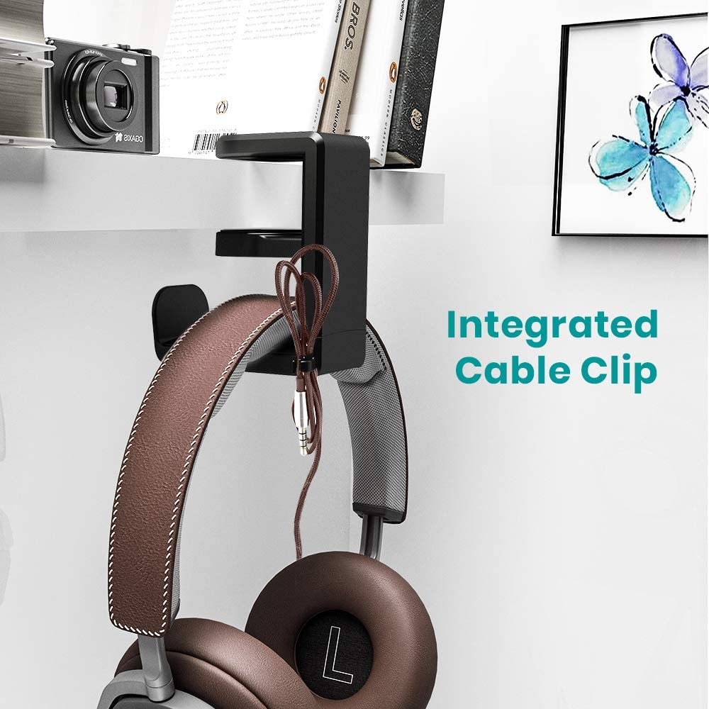 Spring Clamp Klearlook Universal PC Gaming Headset Earphone Display Stand Holder Table Mount Built-in Cord Clip Organizer No Adhesive Required Headset Headphone Hanger Under Desk Swivel Hook