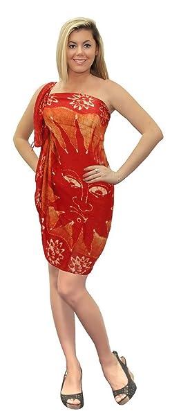 """0dd121b1bd LA LEELA Rayon Long Swim Tie Pareo Women Sarong Batik 72""""X42""""  Orange_4332"""