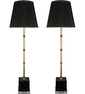 urbanest set of 2 serrino buffet lamps gold with black marble 29inch