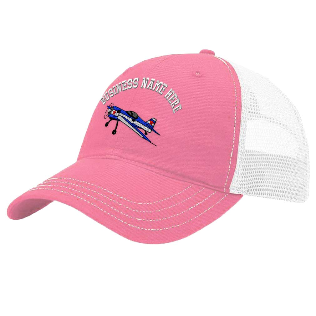 Custom Trucker Hat Richardson Acrobatic Plane Embroidery Business Name Cotton