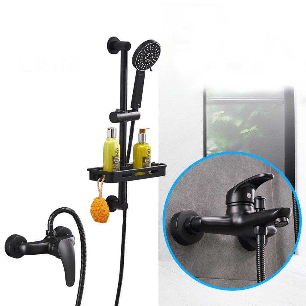 Runde, einfache Dusche Set, Whirlpool Wasserhahn, Badezimmer Handbrause, (schwarz)