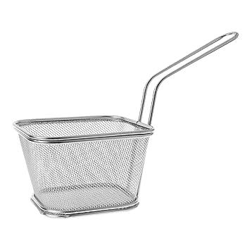 Biniwa - 1 cesta de freidoras francesas de acero inoxidable, cesta de malla para cocinar patatas fritas, cesta de comida rápida con soporte, herramienta de ...
