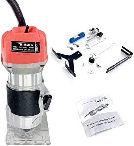 HOTSTORE Palm Router, Laminate Trimmer Wood Router Joiner Tool Device 30000RPM 1/4'' 800W