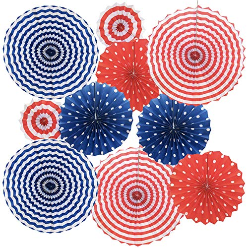 Set of 12 Patriotic Party / 4th of July Colorful Hanging Paper Fans Rosettes Party Decorations Fiesta Party Supplies Photo Props for Wedding Birthday Baby Shower Event, Red/White/Blue(Style 2)
