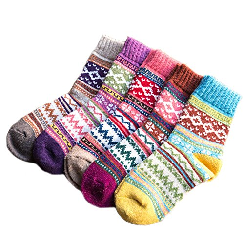 Sunshine Lovely Womens Winter Warm Socks Vintage Thick Knit Socks(5Pairs)
