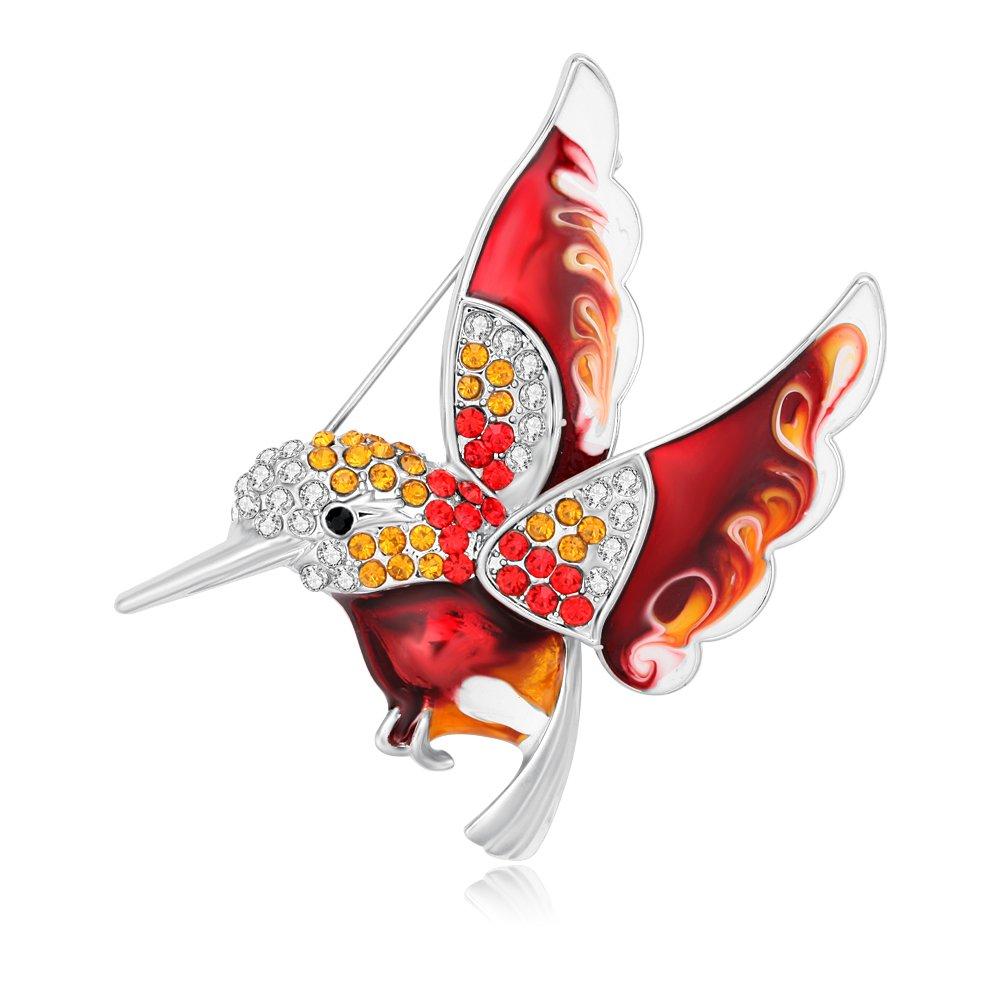 RUXIANG Colorful Enamel Rhinestone Hummingbird Bird Brooches Pin Badge Clothes Jewelry (red)