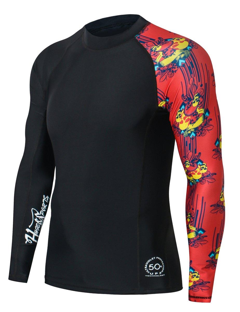 HUGE SPORTS Men's Splice UV Sun Protection UPF 50+ Skins Rash Guard Long Sleeves(Skull Dance, M) by HUGE SPORTS