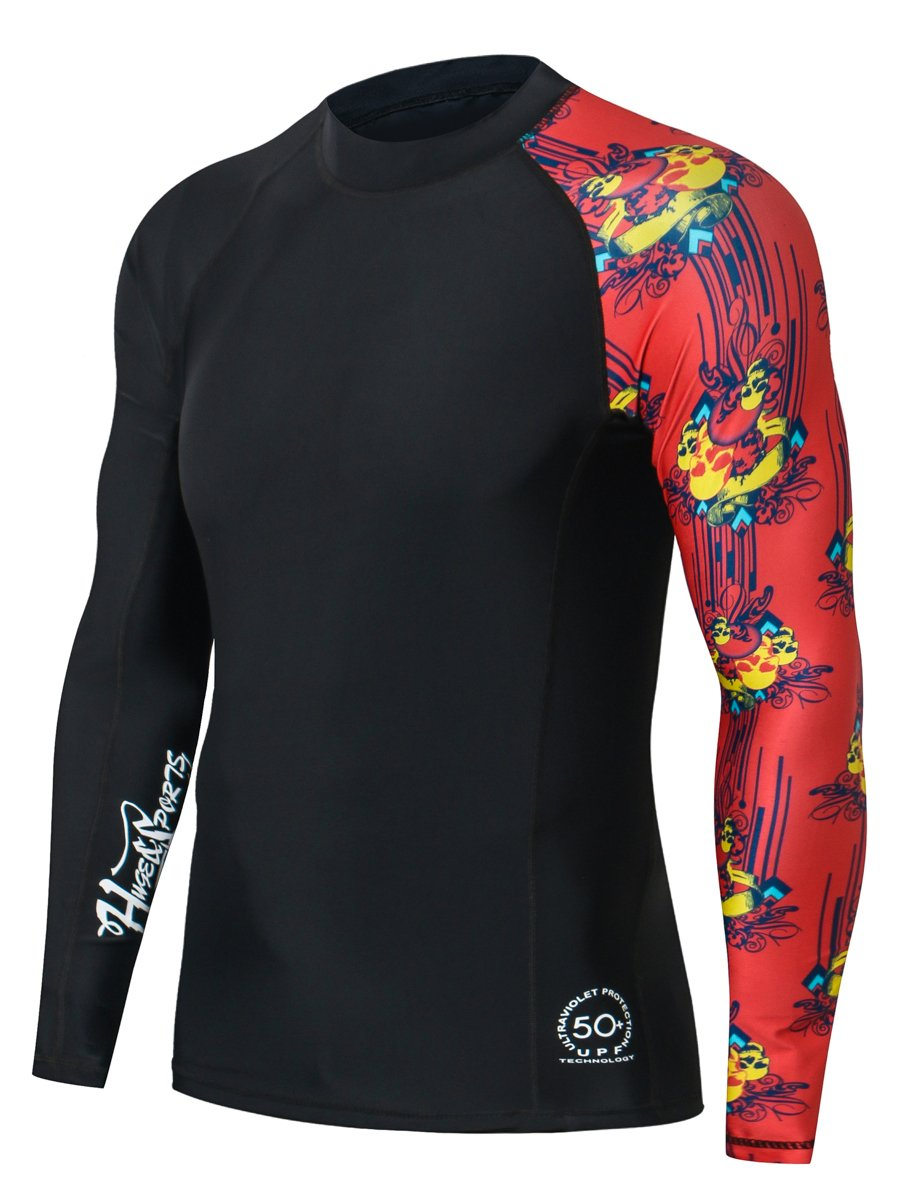 HUGE SPORTS Men's Splice UV Sun Protection UPF 50+ Skins Rash Guard Long Sleeves(Skull Dance, XL)