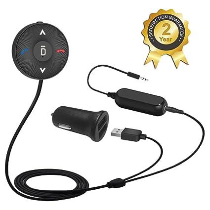 Besign BK03 Receptor Bluetooth Kit de Coche Manos Libres, Adaptador Audio Bluetooth con Conector de Entrada Auxiliar (3.5 mm), Clip de respiradero de Aire y Aislador de Reducción de Ruido para Coche