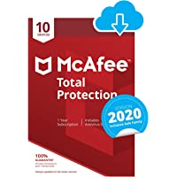 McAfee Total Protection 2020 | 10 Devices | 1 Year | PC/Mac/Android/Smartphones | Download Code
