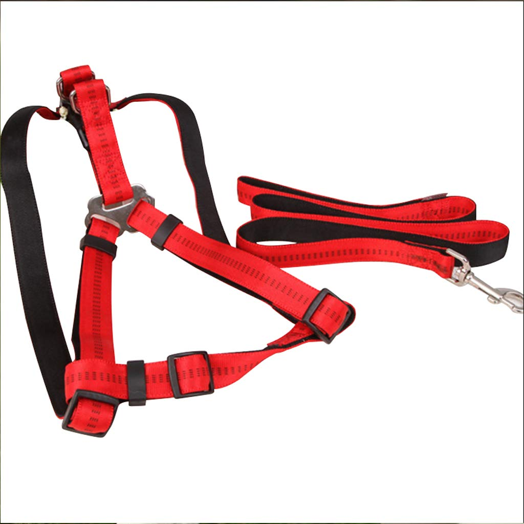 RED S RED S Pet Leash Dog Leash, Adjustable Vest Harness for Medium and Large Dog Chest Strap Have Red Black Brown Lead (color   RED, Size   S)