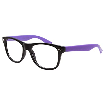 c78ec725a09a Amazon.com  Kids Nerd Fake Glasses Clear Lens Colored Arms Geek Costume  Children s (Age 3-10) Purple  Toys   Games