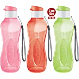 MILTON Water Bottle Kids Reusable Leakproof 12 Oz Plastic Wide Mouth Large Big Drink Bottle BPA & Leak Free with Handle Strap Carrier for Cycling Camping Hiking Gym Yoga (Bright 3 Pack)
