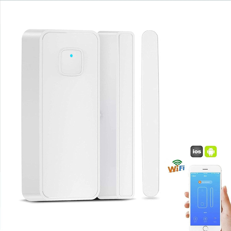 Thinkis WiFi Door and Window Sensor Smart Security Magnetic Sensor Compatible Alexa Google IFTTT Phone App Wireless Ecurity Burglar Alert for Home Garden ...