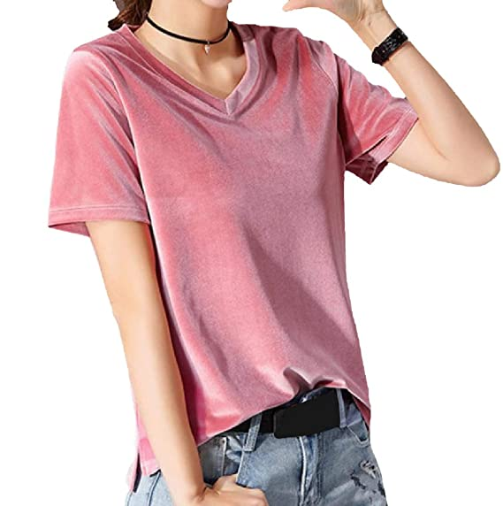 05e7fb6d00a Vinyst Women Boyfriend Plus-Size Velour Velvet Short-Sleeve Tees Top Pink S