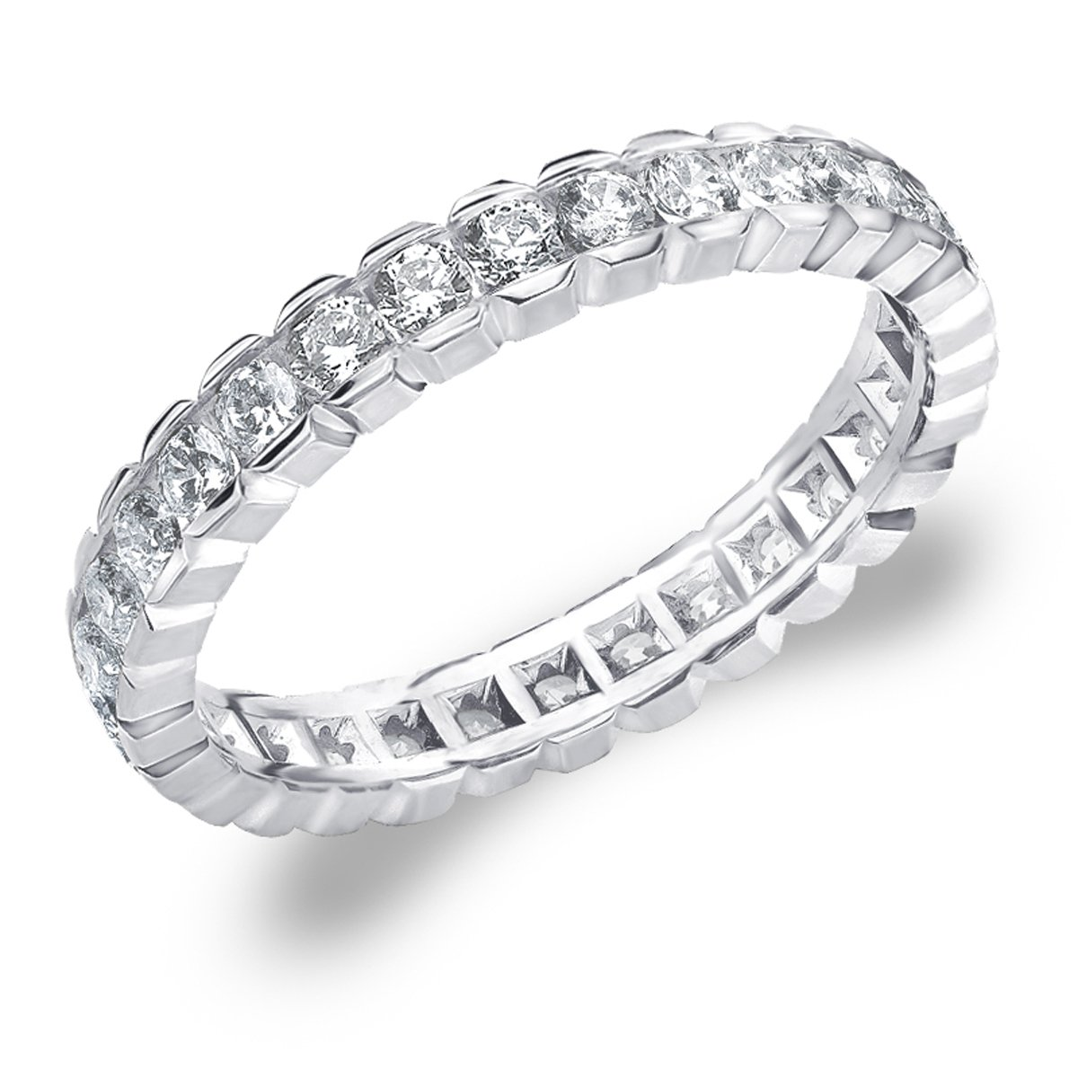 Eternity Wedding Bands 1.0 CTTW Diamond Eternity Ring, 1ct Wedding Anniversary Ring in 10K White Gold - Finger Size 9