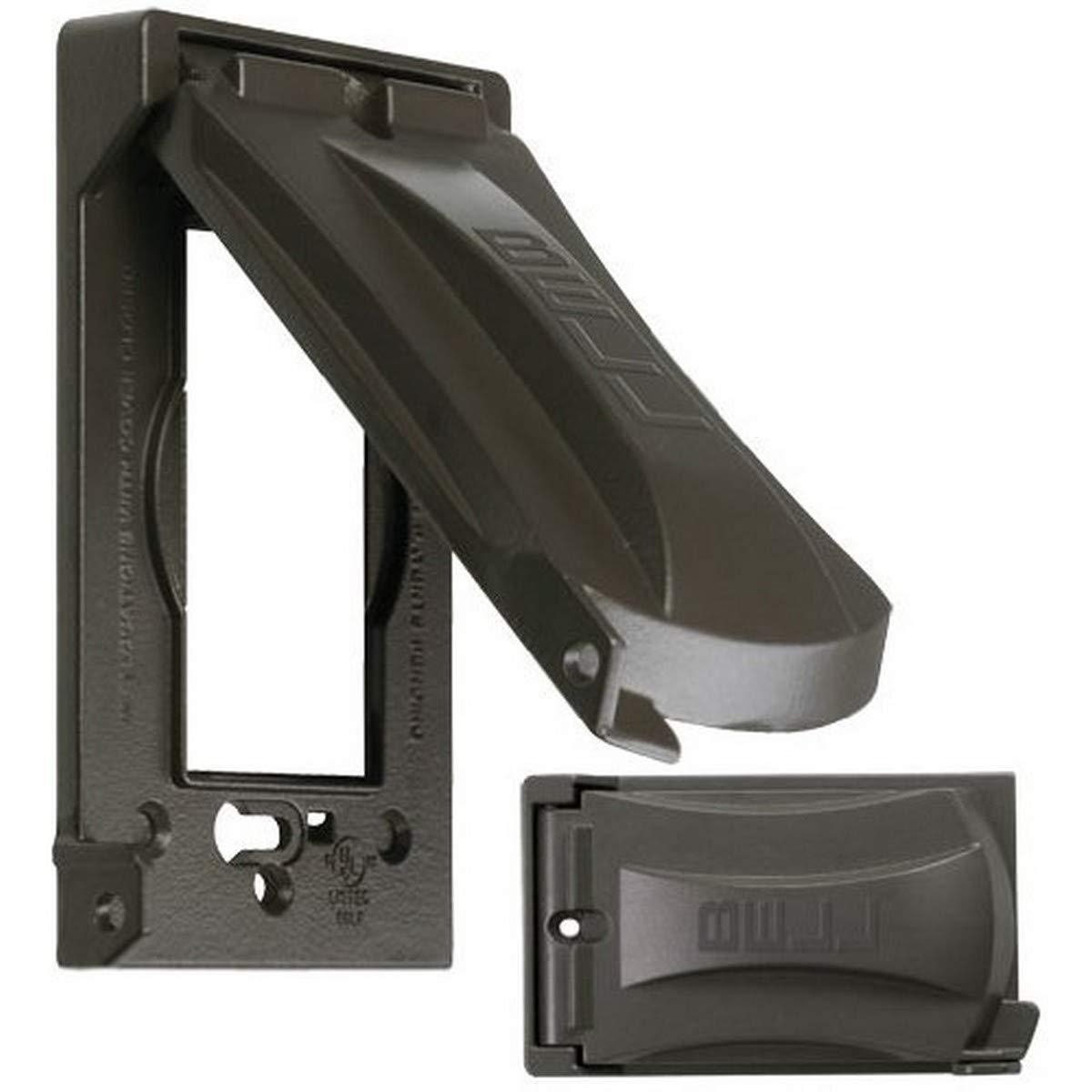 Hubbell-Bell MX1050Z Single-Gang Vertical/Horizontal Weatherproof Universal Flip Cover, Bronze