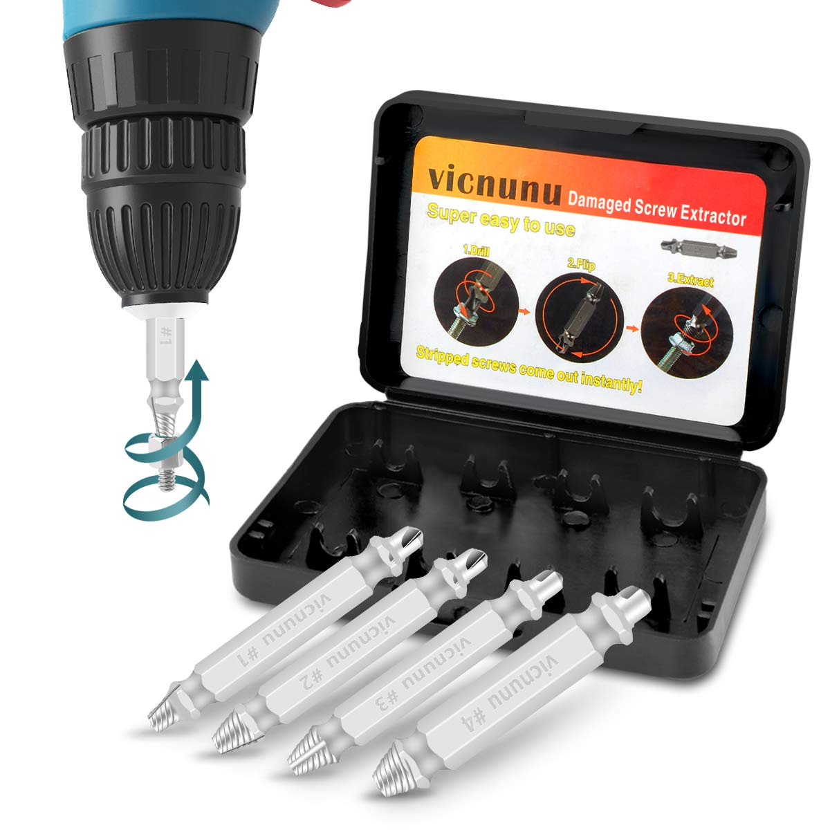 Damaged Screw Extractor Remove Set by Vicnunu, Stripped Screws and Broken Bolts Easy-Out Removers, Made From H.S.S. 4341#, 63-65HRC Hardness, 4-Piece Stripped Screw Extractor Kit