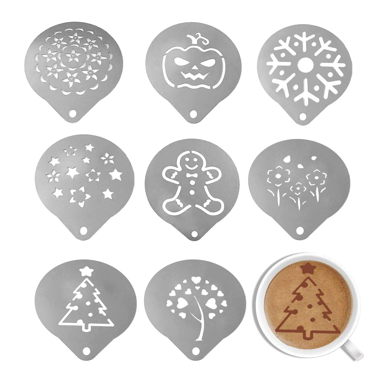 Coffee Decorating Stencils - YeeStone 8 PCS Stainless Steel Barista Coffee Stencils Coffee Pattern Template Coffee Gadgets - For Coffee, Cakes And Bakery