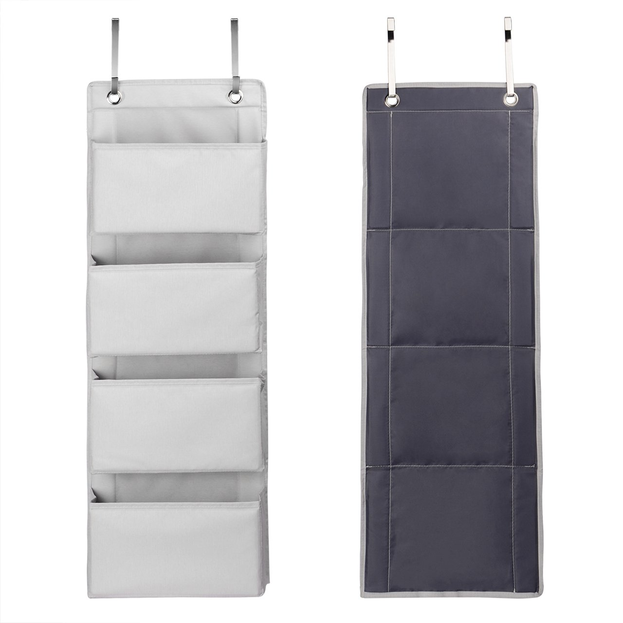 Bathroom Kitchen Polyester Wall Closet Storage Bag Case with 2 Metal Hooks for Bedroom SortWise /® 4 Pockets Over Door Hanging Organizer