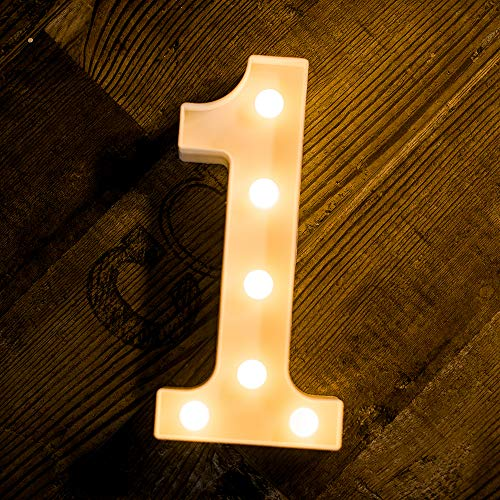 Foaky LED Marquee Number Lights Sign Light Up Marquee Number Lights Sign for Night Light Wedding Birthday Party Battery Powered Christmas Lamp Home Bar Decoration (1) -
