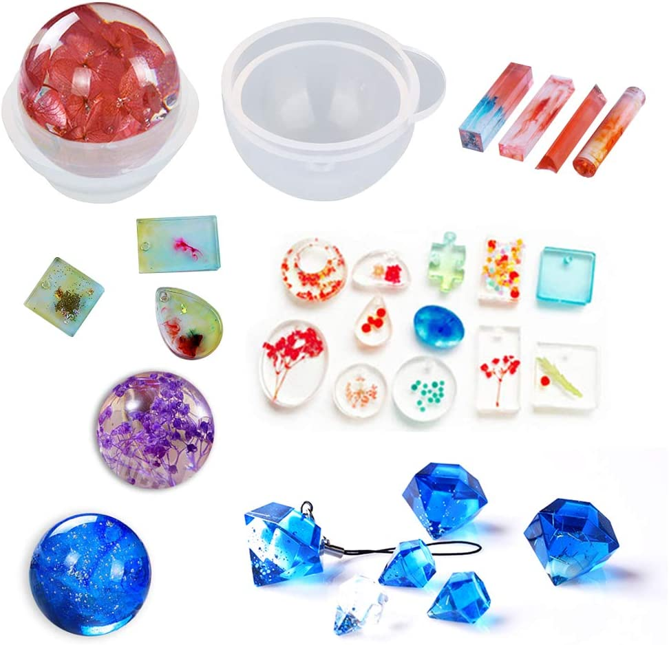 Jatidne Moules en silicone pour la fabrication de bijoux en r/ésine /époxy Kit de moulage pour bijoux en r/ésine pour bijoux en r/ésine savon s/éch/é fleur sph/érique et de nombreuses formes diff/érentes