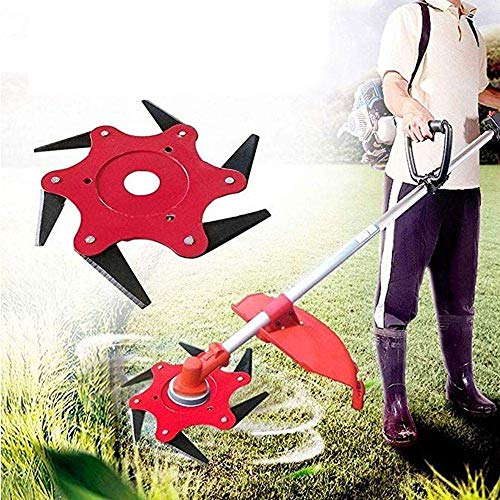 (Lawn Mower Outdoor Trimmer Grass Head Cutter 6 Steel Blades Razors Tooth 65Mn Lawn Mower Grass Weed Eater Brush Cutter Garden Lawn Tool Replacement Parts)