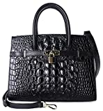 Pijushi Embossed Crocodile Purse Genuine Leather Satchel Handbags Office Padlock Bag Holiday Gift 9016(30cm Black Croco)