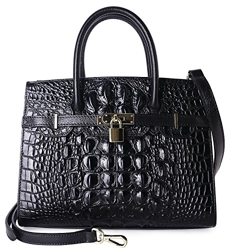 Pijushi Embossed Crocodile Purse Genuine Leather Satchel Handbags Office Padlock Bag Holiday Gift 9016(30cm Black Croco) by PIJUSHI