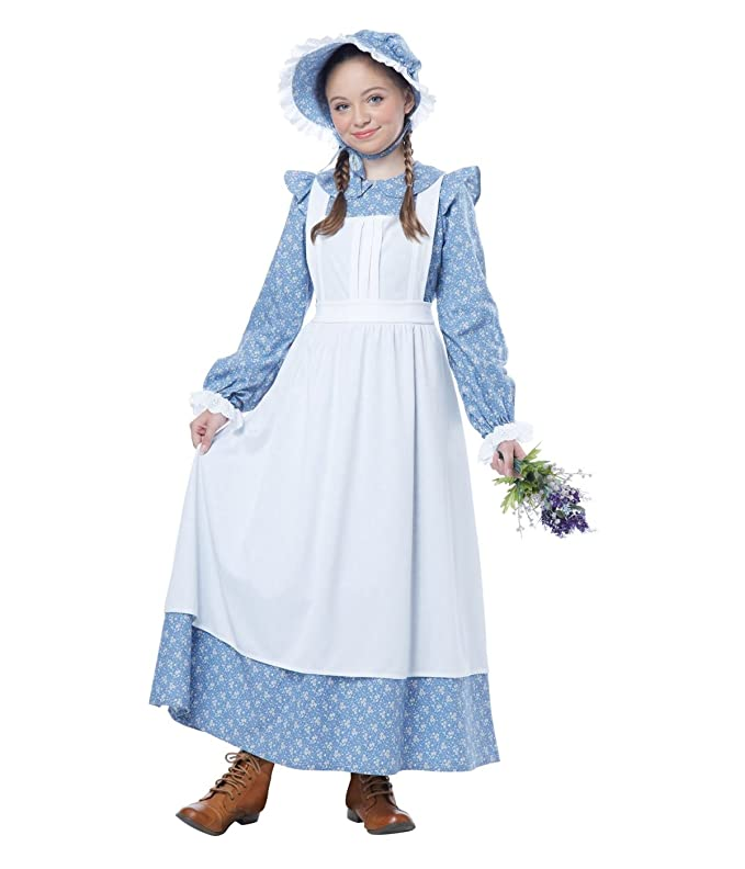 Victorian Kids Costumes & Shoes- Girls, Boys, Baby, Toddler Big Girls American Pioneer Colonial Costume  AT vintagedancer.com