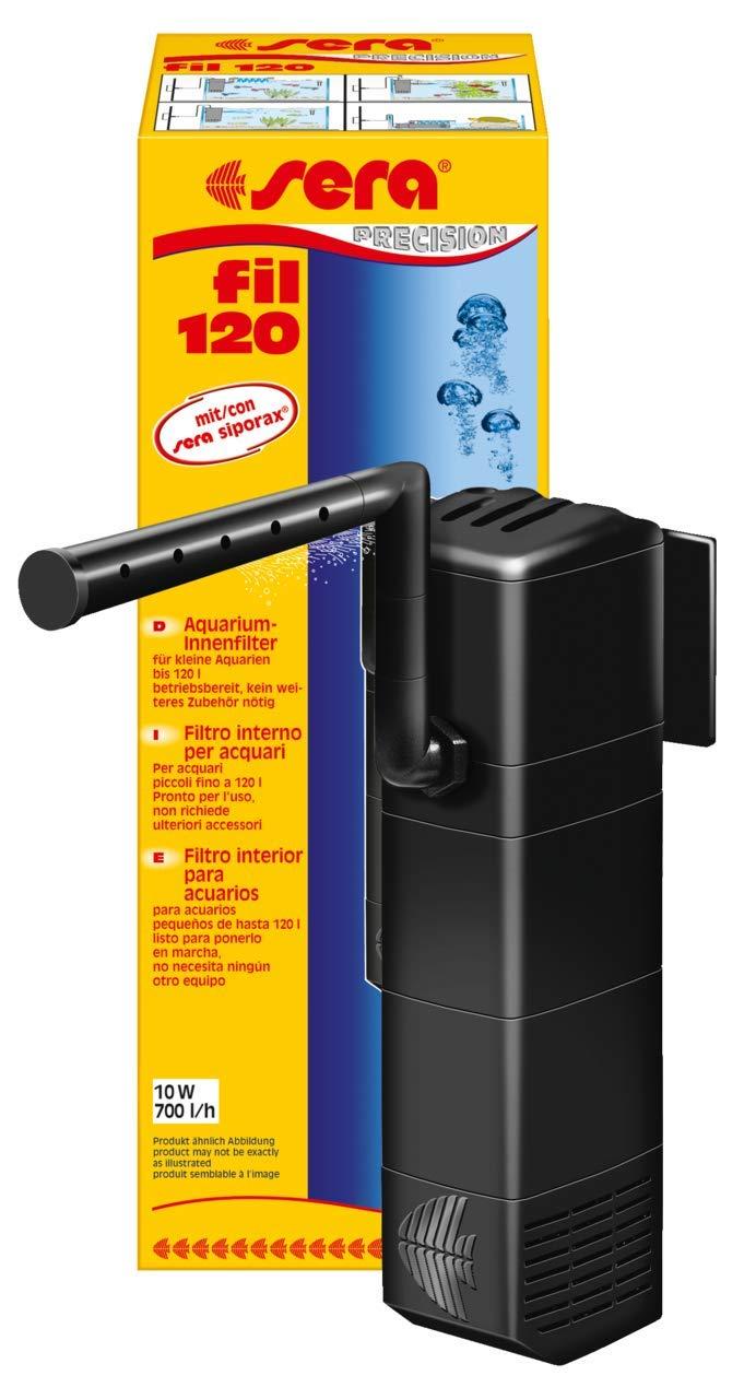 Sera 06844 Fil 120 Filtro Interior de Acuario (700 L/h para acuarios hasta 120 l) en módulo Unidad de construcción con Filtro (con Esponja, Carbón Activo y ...