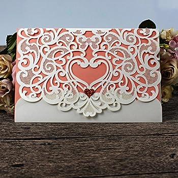 Amazon ponatia 25pcslot luxury laser cut invitations cards wedding invitation card 50 pack fomtor laser cut wedding invitations kit with pink blank printable stopboris Image collections