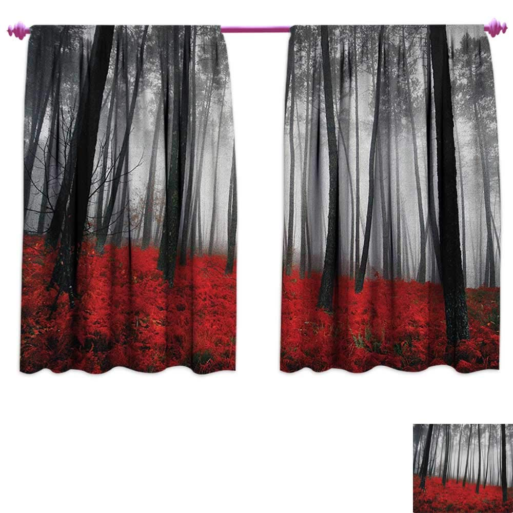 homefeel Forest Blackout Window Curtain Mystical Fantasy Woodland Under Heavy Fog Tall Trees Bushes Contrast Colors Drapes for Living Room W63 x L63 Black Red Pale Grey